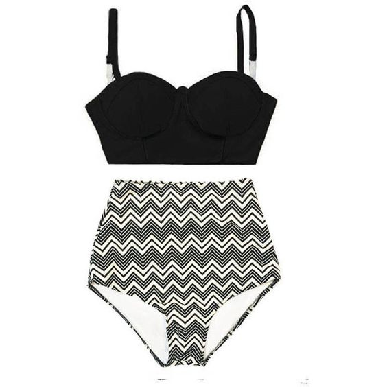 6a972496d86bd Black Underwire Midkini Top and Chevron High waist waisted rise ...