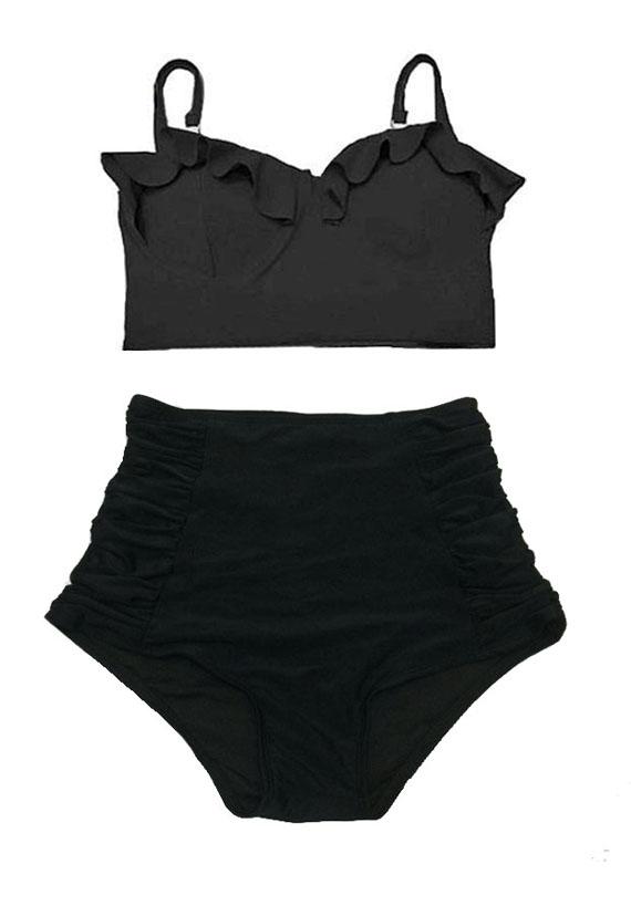 b59c0749034a0 Handmade High waist waisted Slimming Pin up Bikini set Two piece Bikinis  Swimsuit Swimwear Bathing suit : Black Midkini Top and Ruched Bottom Size S  M L XL ...