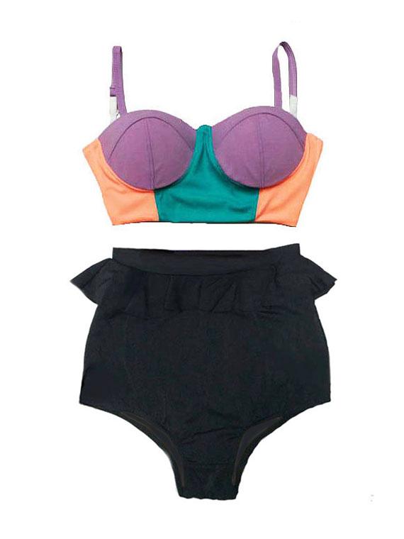 3e4e58a20f7f9 Mint Old Rose Colorful Pastel Midkini Top and Black Peplum Ruffle High  waist waisted Pin up Slimming Handmade Retro Vintage Bikini set Swimsuit  Bathing suit ...